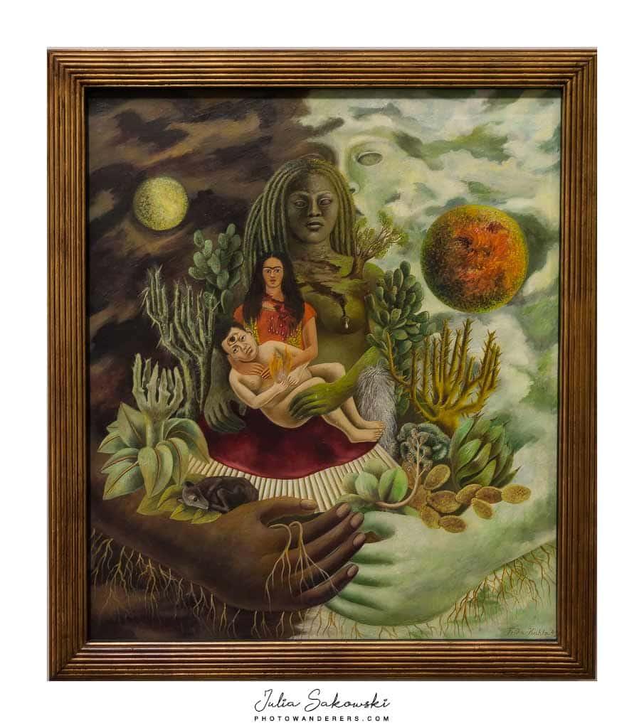 Фрида Кало. Любовные объятия Вселенной, Земля (Мексика), я, Диего и сеньора Ксолотль. 1949
