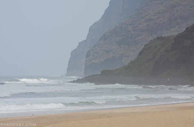 Побережье NaPali, вид с пляжа Polihale