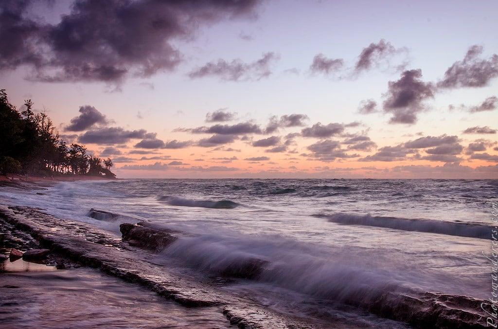 Волны на рассвете, Кауаи, Гавайи | Waves on sunrise, Kauai, Hawaii