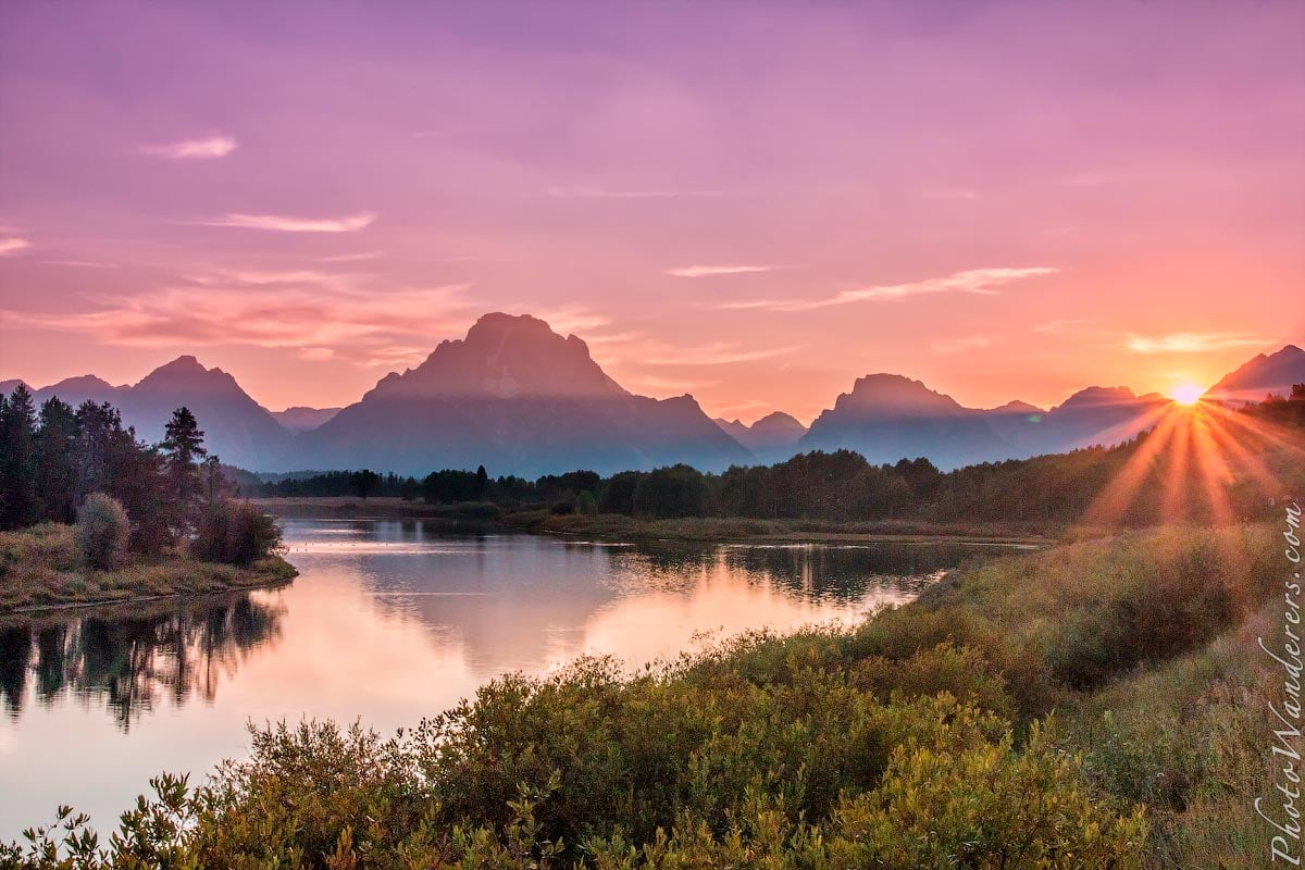 Заводь, Гранд-Титон парк, Вайоминг (Oxbow Bend, Grand Teton park, Wyoming), США