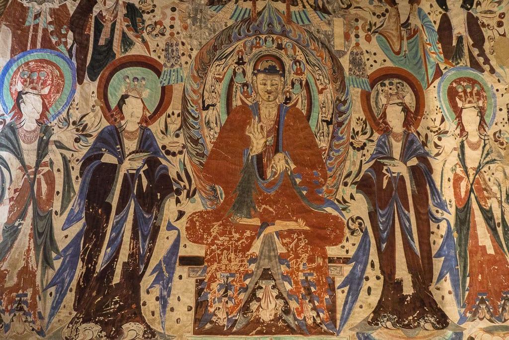 Будда и ученики, пещера 285, 538–539 н.э. | Buddha and pupils, cave 285, 538–539 CE