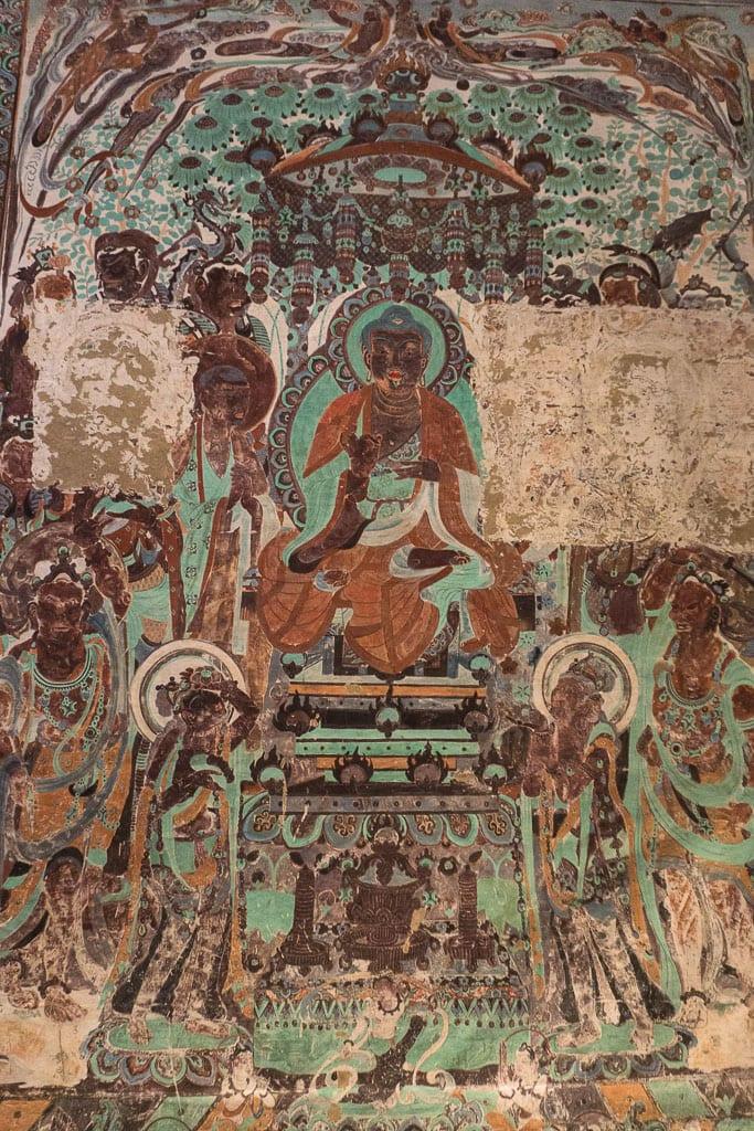 Сутра созерцания Амитаюса, пещера 230, 705–781 н.э. | Preaching scene, cave 230, 705–781 CE
