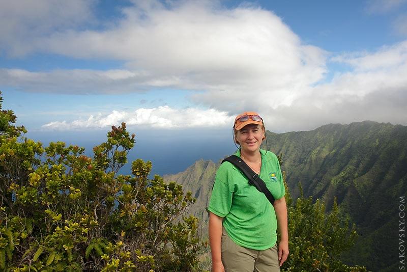 Вид на долину Kalalau, побережье NaPali, вид с Pu'u o Kila, парк Waimea Canyon, Kauai