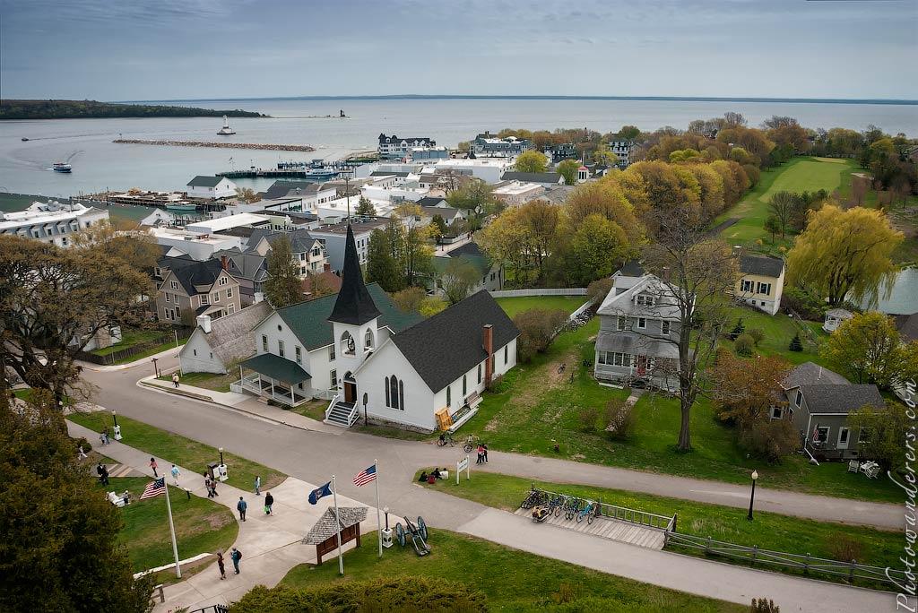 Вид на остров с форта Макино, Мичиган | Island from Fort Mackinac, Michigan
