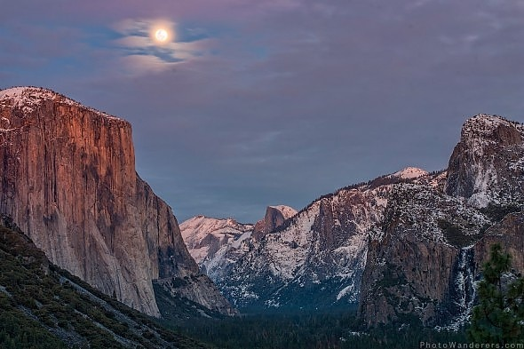 Восход луны над долиной | Moon Rise, Yosemite Valley Йосемити