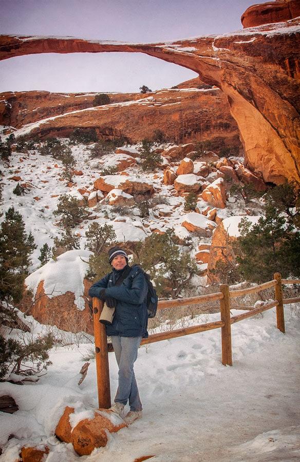 Рассвет под аркой Лендскейп-Арк, Национальный парк Арки, Юта | Sunrise under Landscape Arch, Arches National Park, Utah